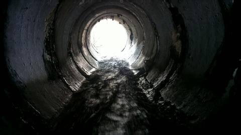 Drainage Pipe Under The Highway stock footage