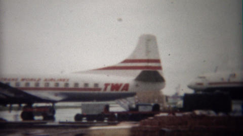 1949: Trans World Airlines propeller turbojet airplane boarding Footage