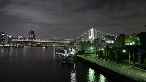 Nightlapse of Rainbow Bridge and port in Shinagawa Footage