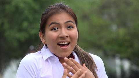 Happy Excited Latina Female Teen Footage