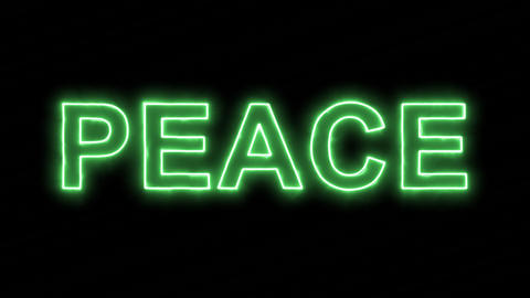 Neon flickering green text PEACE in the haze. Alpha channel Premultiplied - Animation