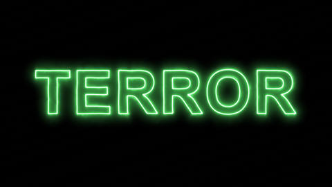 Neon flickering green text TERROR in the haze. Alpha channel Premultiplied - Animation