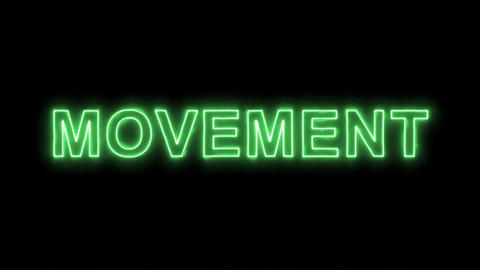 Neon flickering green text MOVEMENT in the haze. Alpha channel Premultiplied - Animation
