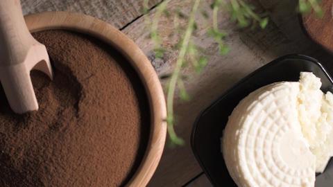 Malt loaf bread flour powder and creamy cheese Footage
