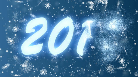 New Year 2018 from snowflakes on a blue background. Christmas and New Year Live Action