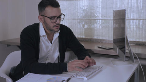 businessman concentrated on his work Footage