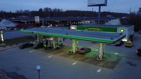 MOSCOW, RUSSIA - NOVEMBER 18, 2017. Aerial shot of the BP gas station on a major Footage