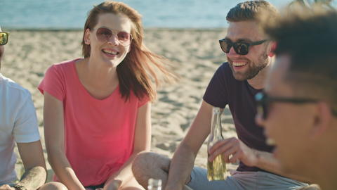 Young People Having Fun on the Beach Photo