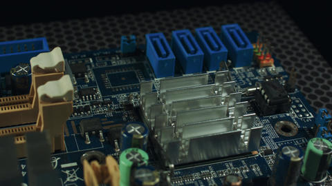 Closeup of SATA connectors on a motherboard Footage