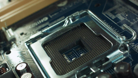 CPU socket on a computer motherboard Footage