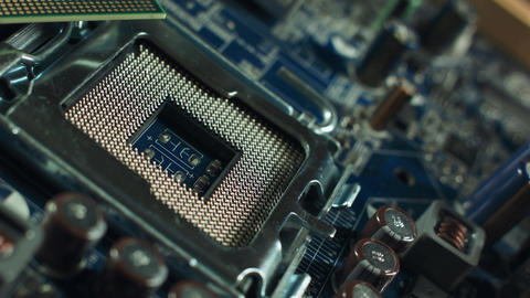 CPU socket on the motherboard. focus on CPU socket. toned image Footage