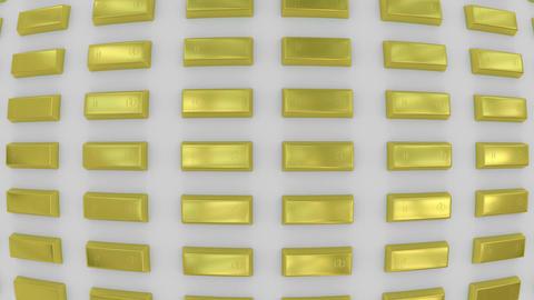 Rows of gold bars viewed in fisheye lens. (loop ready) Footage