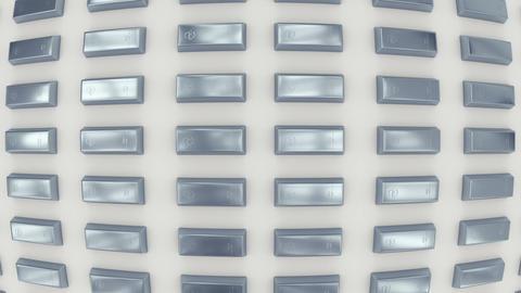 Rows of silver bars viewed in fisheye lens. (loop ready) Animation