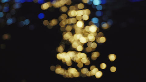 4k yellow and blue bokeh sparkles abstract background Footage