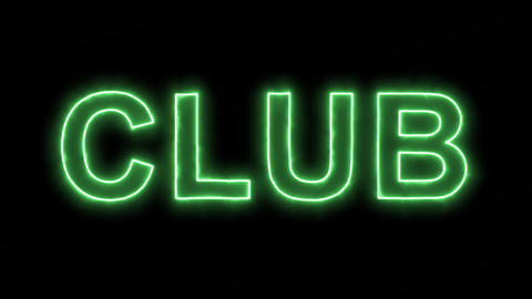 Neon flickering green text CLUB in the haze. Alpha channel Premultiplied - Animation