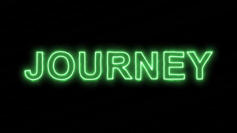 Neon flickering green text JOURNEY in the haze. Alpha channel Premultiplied - Animation