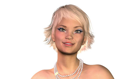 Digital 3D Animation of a flirting female Face Image