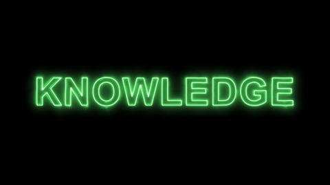 Neon flickering green text KNOWLEDGE in the haze. Alpha channel Premultiplied - Animation