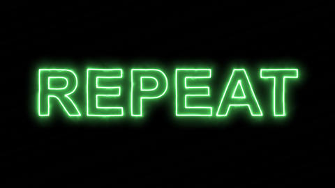 Neon flickering green text REPEAT in the haze. Alpha channel Premultiplied - Animation