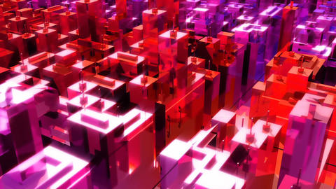 Camera moves through the abstract neon city. Loopable Animation
