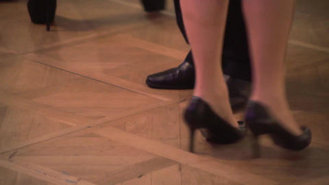 Feet of a pair of dancers who swear in the ring - 35 Footage
