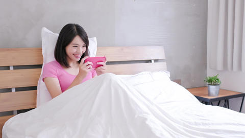 woman play mobile game Live Action