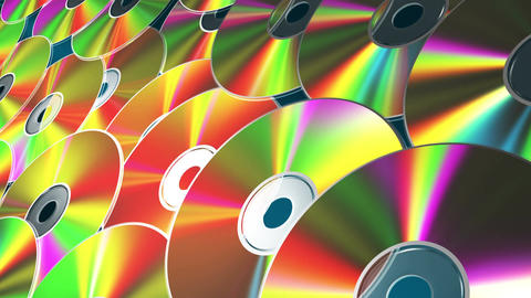 Background From Rotating CD-DVD Discs. 4K. 3840x2160. Seamless Looped CG動画素材