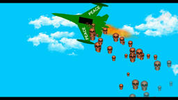 A cartoon plane bombs a bomb,Peace CG動画素材