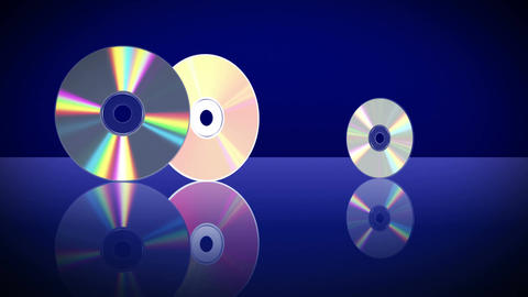 Five Laser Discs Appear One After Another. 4K. 3840x2160 Image