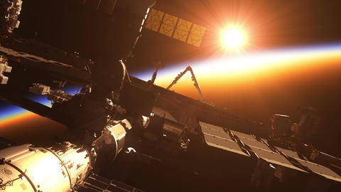 International Space Station On The Background Of Sunrise Animation