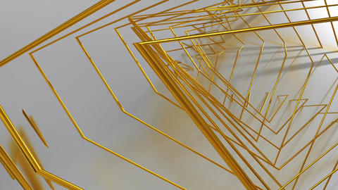 Abstract Animated Background From Gold Wire. Seamless Looping Animation