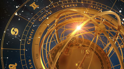 Zodiac Signs and Armillary Sphere On Blue Background. Seamless Looped Animation