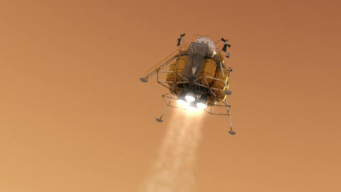 The Descent Module Landing On Planet Mars Animation