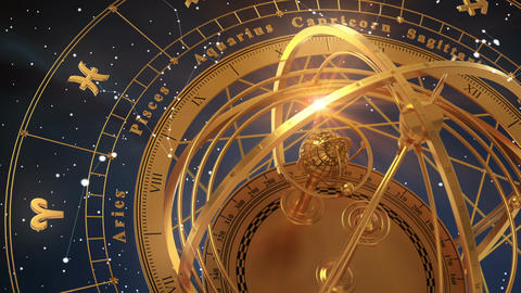 Armillary Sphere And Zodiac Signs On Blue Background Animation