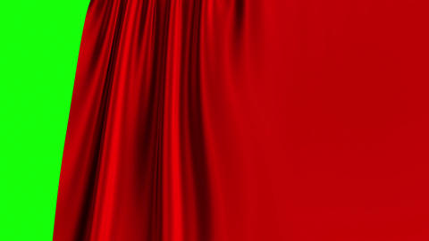 Red Curtain Opening On Green Screen. 3D Animation. 4K Animation