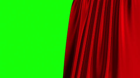 Red Curtain Opening On Green Screen. 3D Animation. 4K Stock Video Footage