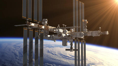 Flight Of International Space Station In The Rays Of Sun Animation