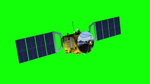 Communication Satellite. Green Screen Animation