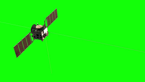 Flight Of Interplanetary Space Station. Green Screen Animación