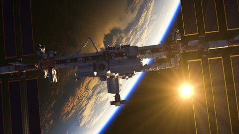 Flight Of International Space Station On The Background Of Earth And Rising Sun Animation