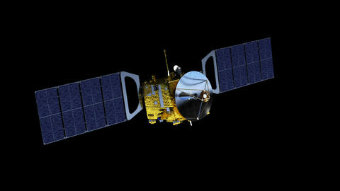 Satellite Deploys Solar Panels. Alpha Channel Separately Animation