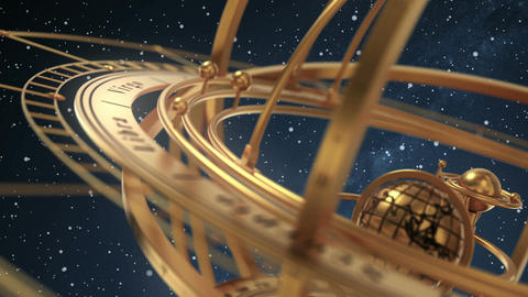 Armillary Sphere On Background Of Starburst Animation