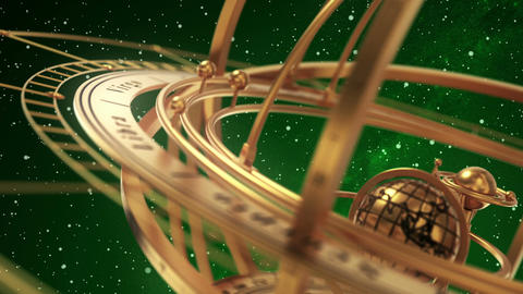 Armillary Sphere On Green Background Of Starburst Animation