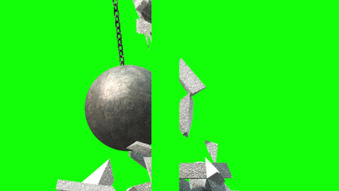 Metallic Wrecking Ball Shattering The Wall. Side View. Green Screen GIF