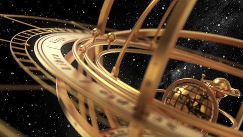 Armillary Sphere On Black Background Of Starburst Animation
