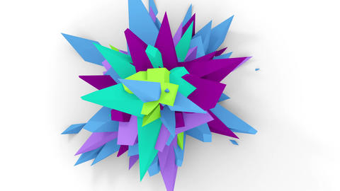 4K. Abstract Digital Flower. Version With Purple, Cyan And Blue Colors. Seamless Looped Animation