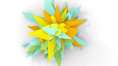 4K. Abstract Digital Flower. Version With Cyan, Yellow And Orange Colors. Seamless Looped Animation
