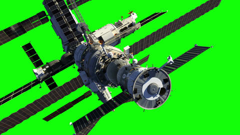 Flight Of Space Station. Green Screen Animation