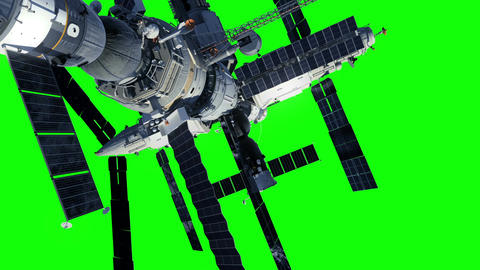 Space Station And Astronaut On Green Screen Animation