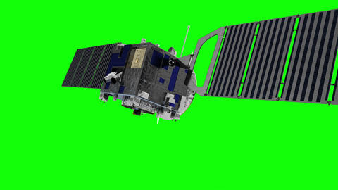 Space Satellite On Green Screen Animation